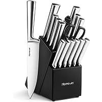 Homever Couteau de Cuisines, Acier Inoxydable 16 Pièces Set Couteaux de Cuisine with Bloc en Bois, Ensemble de Couteaux, Couteaux de Chef, Bloc de Couteaux pour la Cuisine