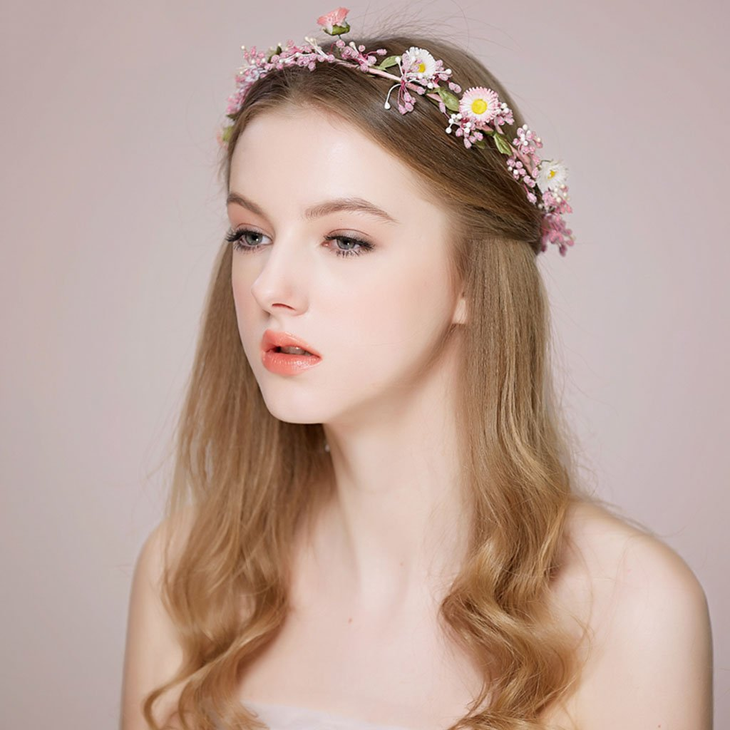 Wreath Flower, Headband Flower Garland Handmade Wedding Bride Party Ribbon Headband Wristband Hairband-Pink (Color : Pink)