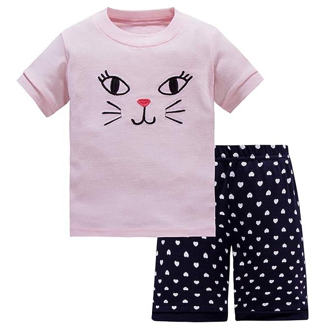 Amazon.com: Pijamas para niñas verano ropa de niño 100 ...