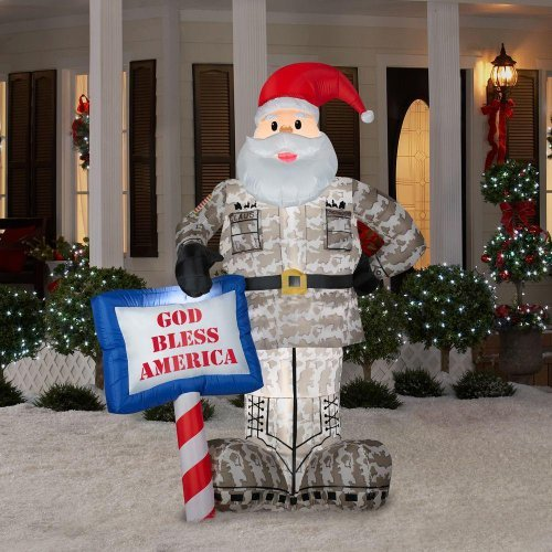 CHRISTMAS DECORATION LAWN YARD INFLATABLE AIRBLOWN MILITARY SANTA 7' TALL -