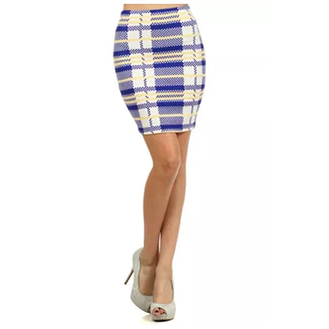 5ae8bc31f0 Skirt Plaid High Waist S M L Fitted Spring Coral Blue New Stretch Women  Crepe