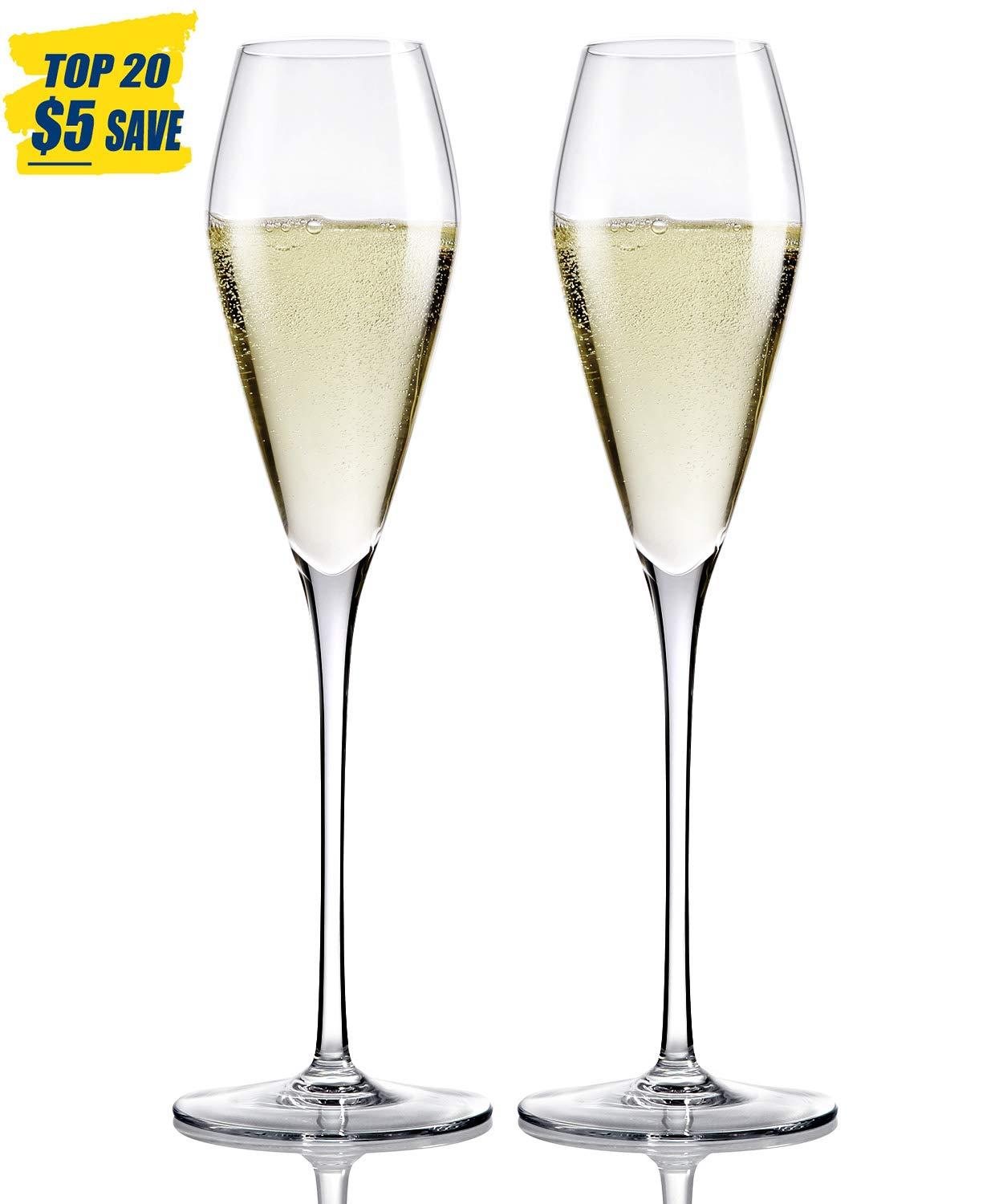 Champagne Flutes Glasses-Hand Blown Crystal Champagne Glasses Made from 100% Lead Free Premium Crystal Glass, Perfect for Any Occasion,Great Gift, 10.6'', 8.8 Oz, Set of 2, Clear