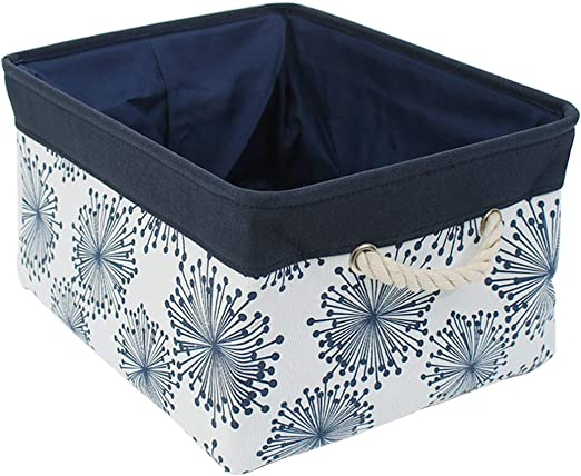 Luxspire Fabric Storage Basket Blue Collapsible Canvas Basket Storage Cube Bin with Handles for Closet Storage Bedroom Drawers Organizer Toy Basket
