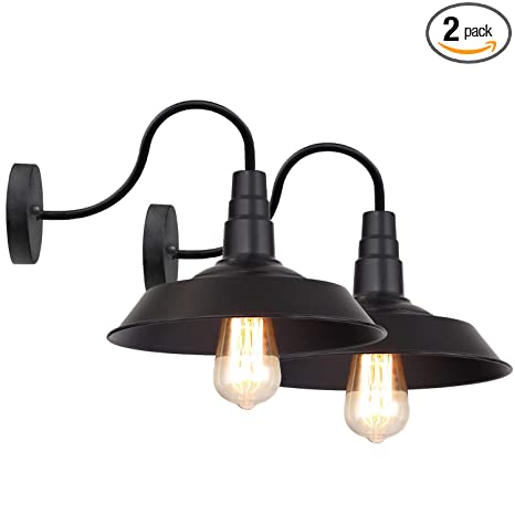 LNC Black Matte Wall Sconces 2 Pack Barn Vanity Lights, Gooseneck Lamp for  Pathway, Bathrooms and Living Room A0224109,
