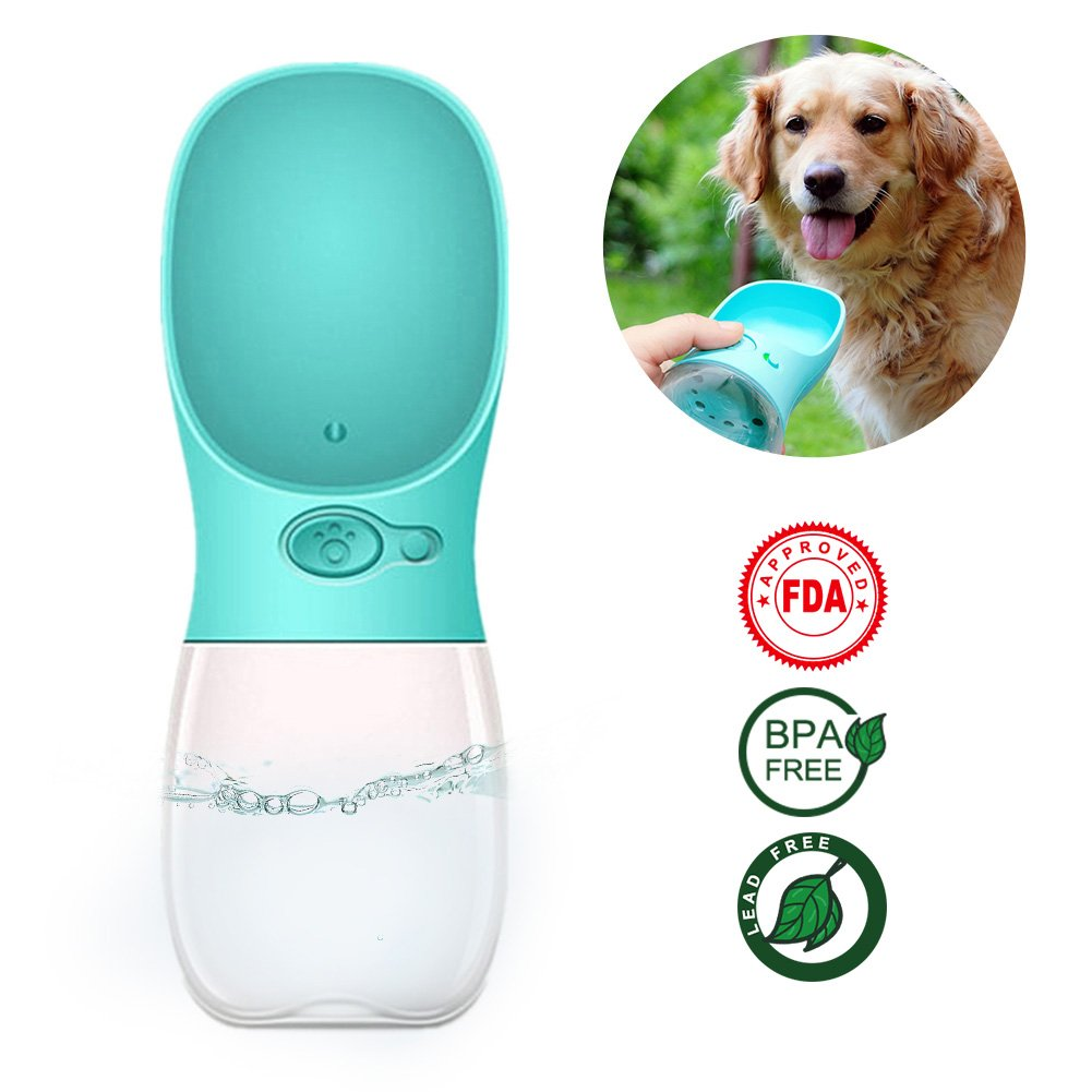 Tokmali Dog Water Bottle, Pets Travel Water Dispenser with Big Trough Antibacterial Food Grade Leak Proof Portable Dog Cat Outdoor Drinking Cup - 12OZ (Blue)