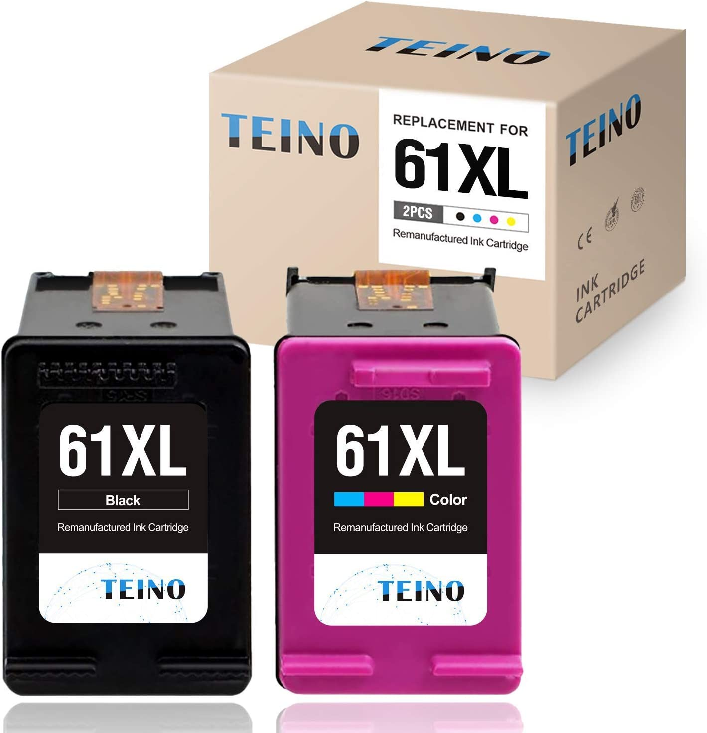 TEINO Remanufactured Ink Cartridge Replacement for HP 61XL 61 XL use with HP Envy 5530 4500 4502 OfficeJet 4630 4635 DeskJet 2540 1010 3050A 2542 2549 3510 2548 2541 (Black, Tri-Color, 2-Pack)