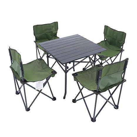 WYJQZ Mesa y sillas Plegables para Exteriores, Mesa Plegable ...
