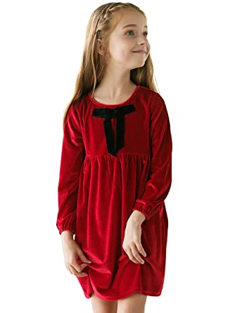 7f2e271a21ee1 Sanlutoz Winter Girl Dress Red Velvet Long Sleeves Clothes Princess ...