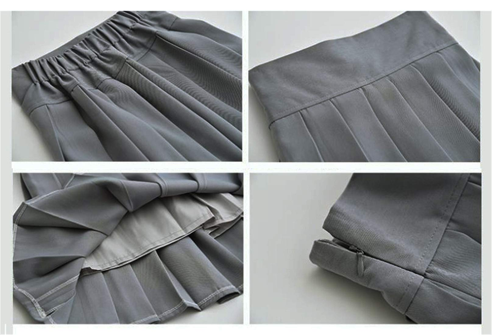 Beautifulfashionlife Women's High Waisted Pleated Mini Skirt A-line Shorts with Elastic Wide Waistband (Small, Dark Grey) by Beautifulfashionlife