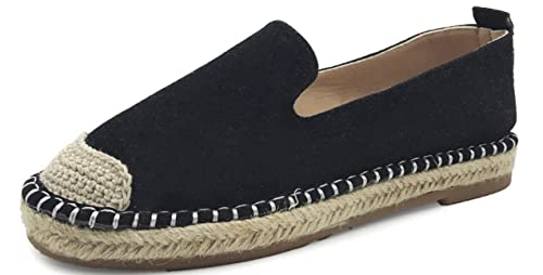 ACE SHOCK Loafer Flats Women Slip-on, Straw Plaited Casual Moccasins Driving Shoes PU