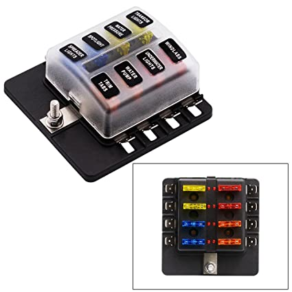 amazon com fuse block 8 way blade fuse box holder with led warning rh amazon com blade fuse box holder blade fuse box holder with led light