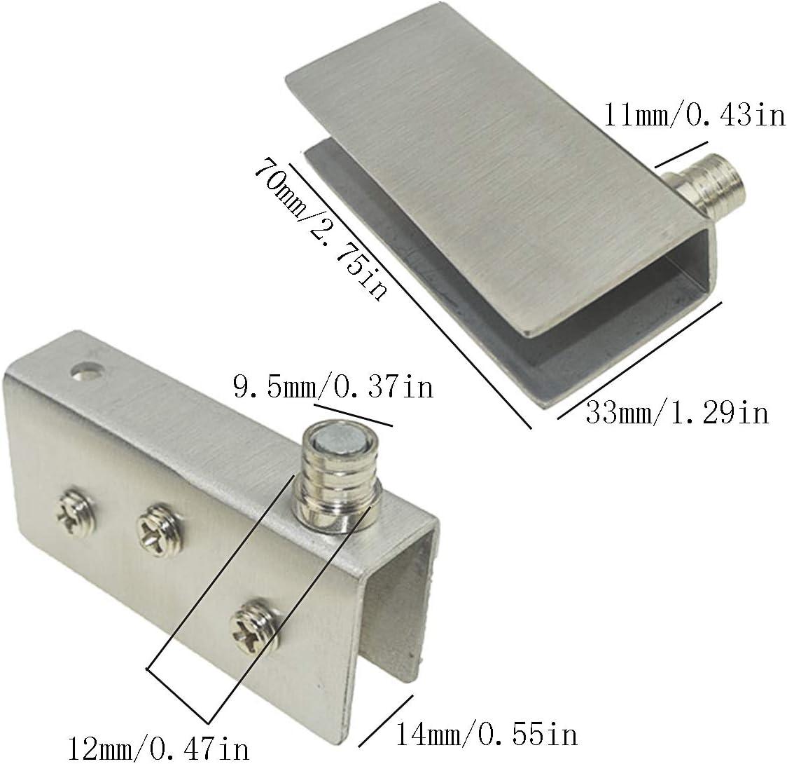 Paquete de 4 bisagras para puertas de vidrio Bisagra pivotante de 90 /° acero inoxidable vidrio sin perforaci/ón apto para vidrio de 10-12 mm