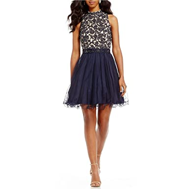 Wishopping Womens Short High Neck Bead Prom Gown Homecoming Dress WH153 Blue Size 2