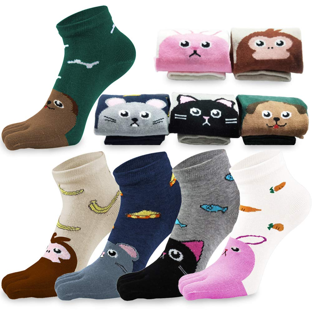 REKYO 5 Pairs Children Toe Socks Cotton Kids Five Finger Socks Cute Cartoon Animal Pattern Socks for Boys Girls 3-12 Years