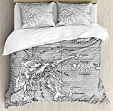 Island Map Duvet Cover Set King Size by Ambesonne, Vintage Style French Map Chart of Sulawesi Island Mediterranean Destination, Decorative 3 Piece Bedding Set with 2 Pillow Shams, Black and White