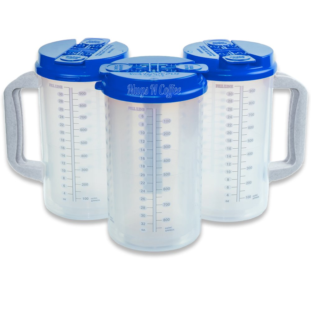 ( 3 ) 32 oz病院Insulated Cold Drink Mugs withパールブルーLids   B078JBYK84
