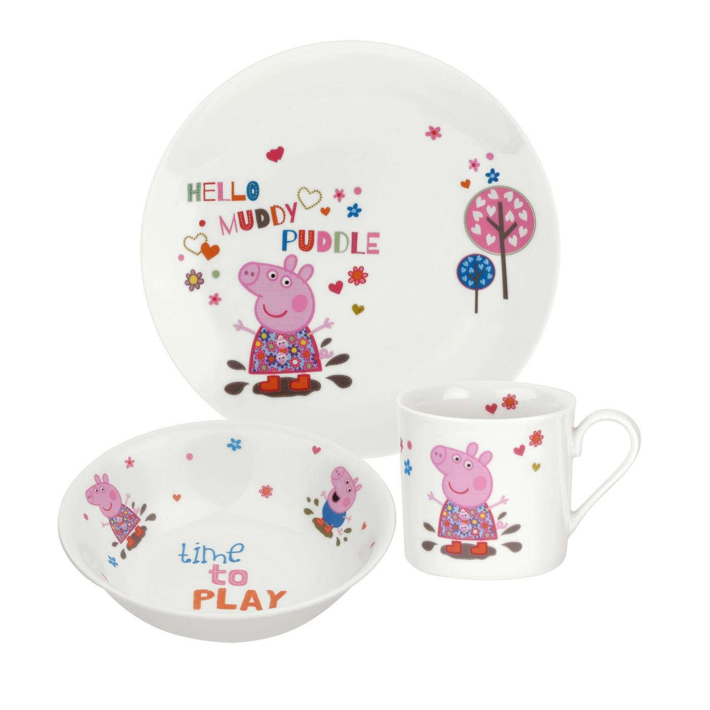 Portmeirion Peppa Pig 3-Piece Plate/ Bowl/ Mug Set, Multi-Colour PEP78375-XG