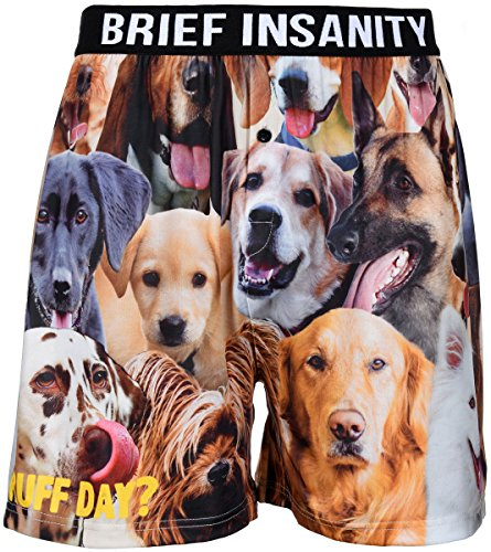 Men's Boxer Shorts Underwear by Brief Insanity 2 Great Cats & Dogs Designs (X-Large, BIBXR Ruff Day?)