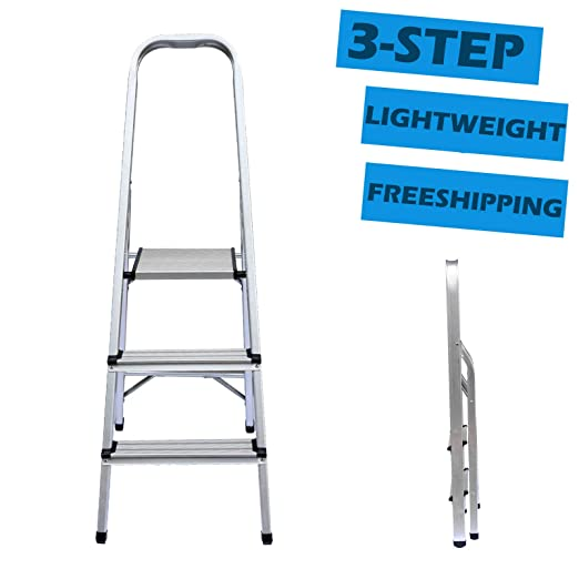 Escalera plegable de 3 peldaños de aluminio ligero, portátil ...