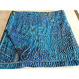 "Patola Silk Patch Kantha Quilt , Kantha Blanket Bedspread, Patch Kantha Throw, King Kantha, Kantha Rallies Indian Sari Quilt, Size 90"" X 108"" 001"