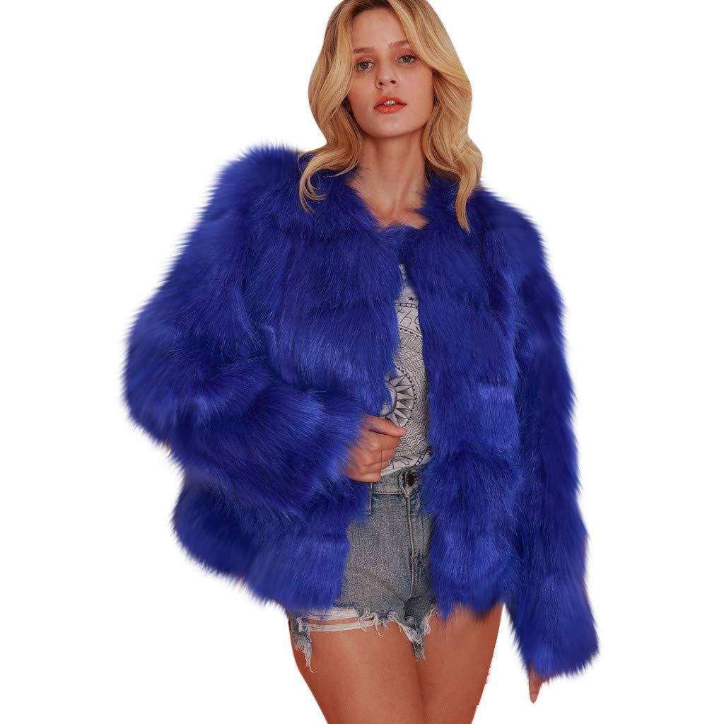 Wenini Women Open Front Solid Jacket Winter Autume Fold Warm Thick Fuzzy Fleece Faux Fur Jacket Coat Outwear by Wenini Women Coat