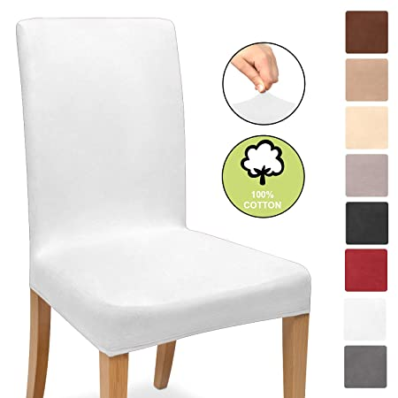 Sensational Beautissu Stretch Cover Mia Cotton Dining Chair Slipcover 45X45Cm Bi Elastic Fitted Cover Chair Protection White Evergreenethics Interior Chair Design Evergreenethicsorg