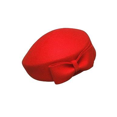 444091fba205 ZYCC Chapeau béret Chapeau de pillule Fascinator d agent de Bord pour  l hiver Bonnet Beanie Couleur Unie Béret de Laine français Style européen  et américain ...
