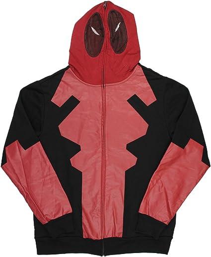Adult Men/'s Marvel Dead Pool Fleece Hoodie Zip Up Jacket Full Face Costume