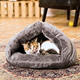 Aiung Pet Kennel Nest Plush Cave Cozy Grey House for Dog or Cat Sleeping Review