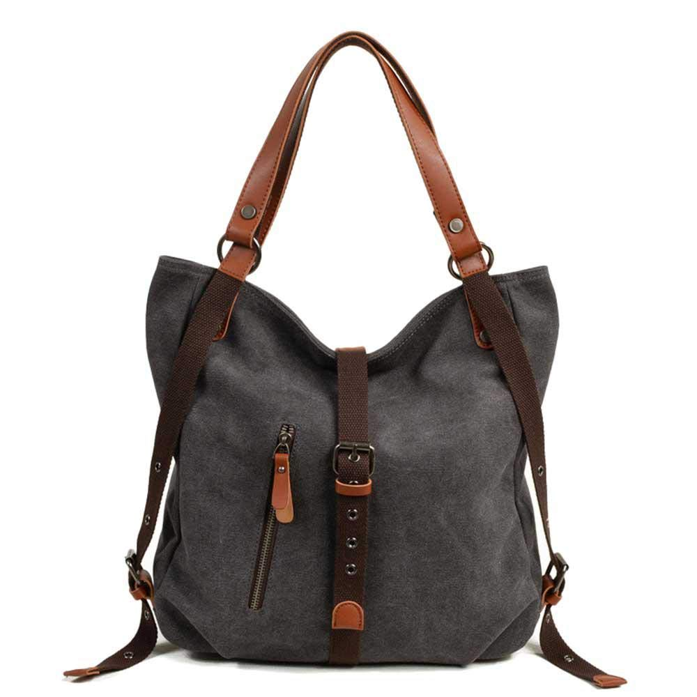 KOBWA 2018 New Women Shoulder Bag,Multifunctional Canvas Backpack Purse Crossbody Casual Travel Daypack, Fashion Backpack
