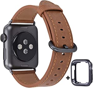 JSGJMY Compatible with Apple Watch Band 38mm 40mm 42mm 44mm Women Men Genuine Leather Replacement Strap for iWatch Series SE 6 5 4 3 2 1 (Camel with Space Grey Clasp, 38mm/40mm S/M)