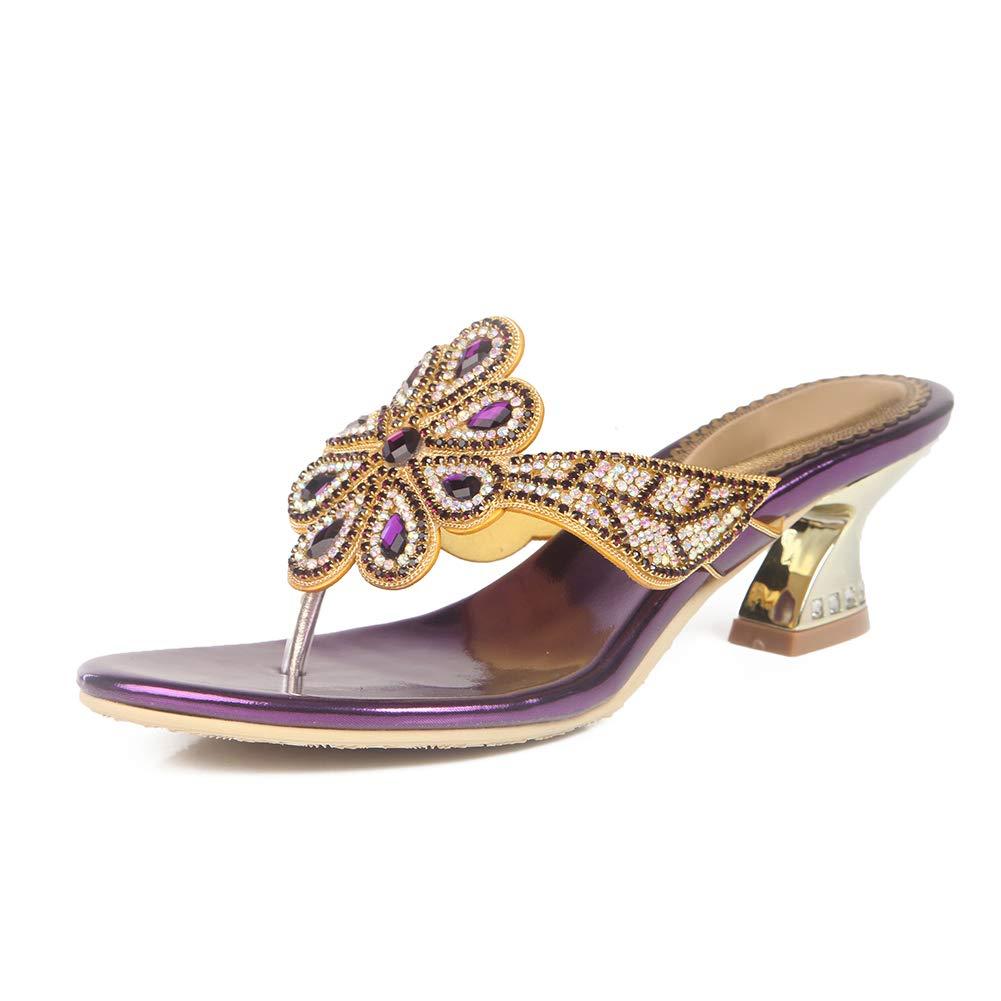 Purple Women's Round Head Open Toe High Heel Slippers Shining Rhinestone Gladiator Flip Flops Sandals Cozy Slippers