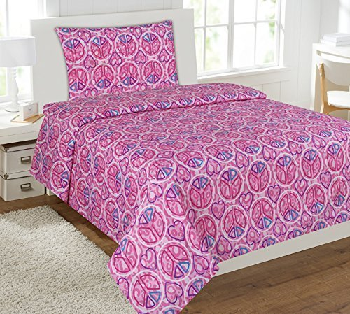 Elegant Home Multicolor Peace Sign with Hearts Themed Design 3 Piece Printed Sheet Set with Pillowcase Flat Fitted Sheet for Girls / Kids/ Teens # Peace Pink (Twin Size)