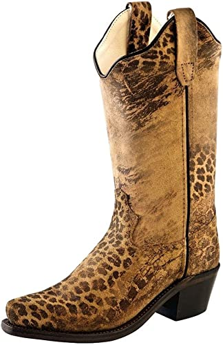 Old West Tan Kids Girls Leather 8in