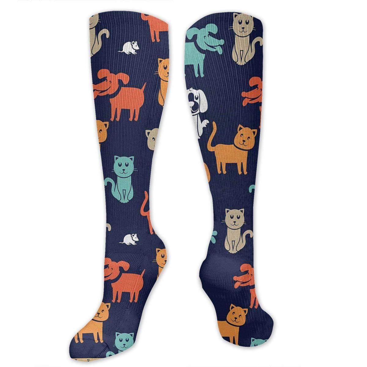 Men Multicolored Pattern Fashionable Fun Crew Cotton Socks Chanwazibibiliu Cartoon Style Cat Dog Mens Colorful Dress Socks Funky