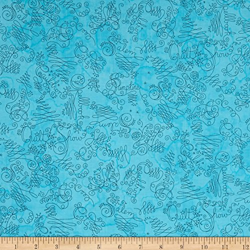 Maywood Studio Salem Quilt Show Script Teal Fabric By The Yard Show Cotton Quilt Fabric