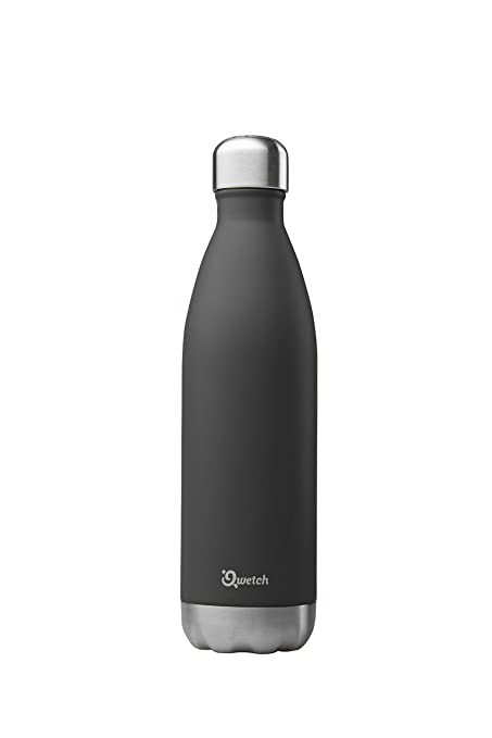 Qwetch QD3036 – Botella isotérmica de acero inoxidable – 750 ml, Negro , 750 ml