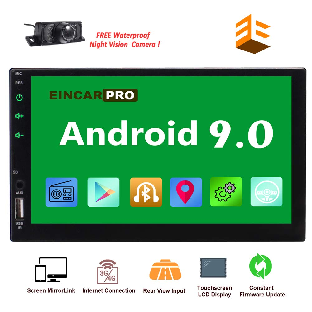 EinCar Car Radio Double Din Android 9.0 Car Stereo 2 Din GPS Navigation 7 inch Touch Screen Bluetooth Head Unit In Dash Quad Core 16GB Support SWC WiFi Mirrorlink 1080P FM Video Player by EinCar