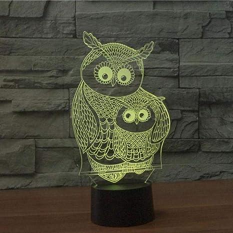 Búho Lámpara 3d Lámpara táctil colorida Decoración de la ...