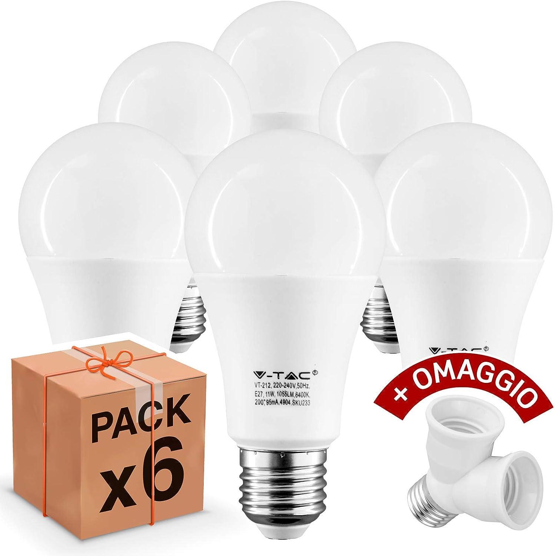 Naturale o Freddo Bianco Naturale 10 pezzi Lampadine LED V-Tac E27 11W Forma: Bulbo 1055 lumen equivalenti a 75W Luce Bianco Caldo
