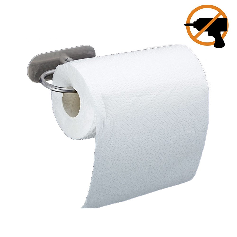 WINCASE Adhesive Muti-Function Paper Towel Roll Holder/Warp Holder with Suction, Toilet Paper Holder for Bathroom, Brushed SUS304 Stainless Steel