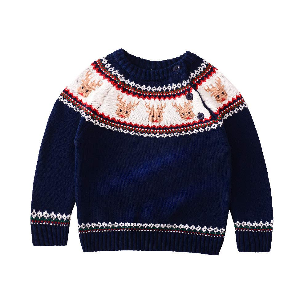 JGJSTAR Baby Toddler Boys Christmas Deer Knit Sweater 100% Cotton Kids Pullover Sweatershirt (Blue, 2-3 T/Lable:100) by JGJSTAR