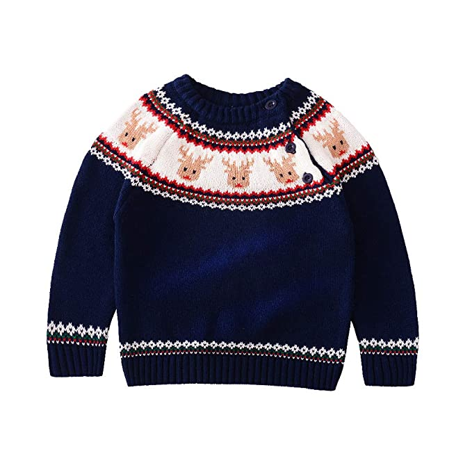 01f921a8ed323 JGJSTAR Baby Toddler Boys Girls Crew Neck Knit Sweater Deer Warm Cotton  Casual Pullover Sweatshirt