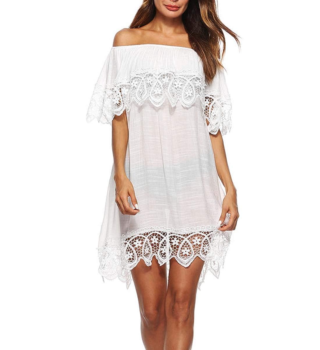 DNFC Strandkleid Damen Sommerkleider Kurz Strand Kleider Weiß Luftig Beach Kleid Spitze Badekleid Bikini Cover Up Tunika Strandponcho Strandkleider für Urlaub