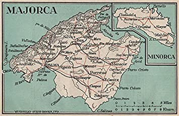 Map Of Spain Majorca.Majorca Minorca Vintage Map Plan Spain Mallorca Menorca 1930
