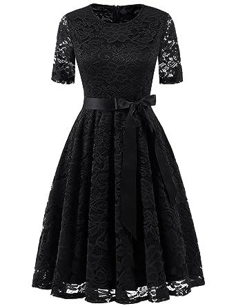 408c0bfc0f60 DRESSTELLS Short Bridesmaid Scoop Floral Lace Dress Cocktail Formal Party Dress  Black S