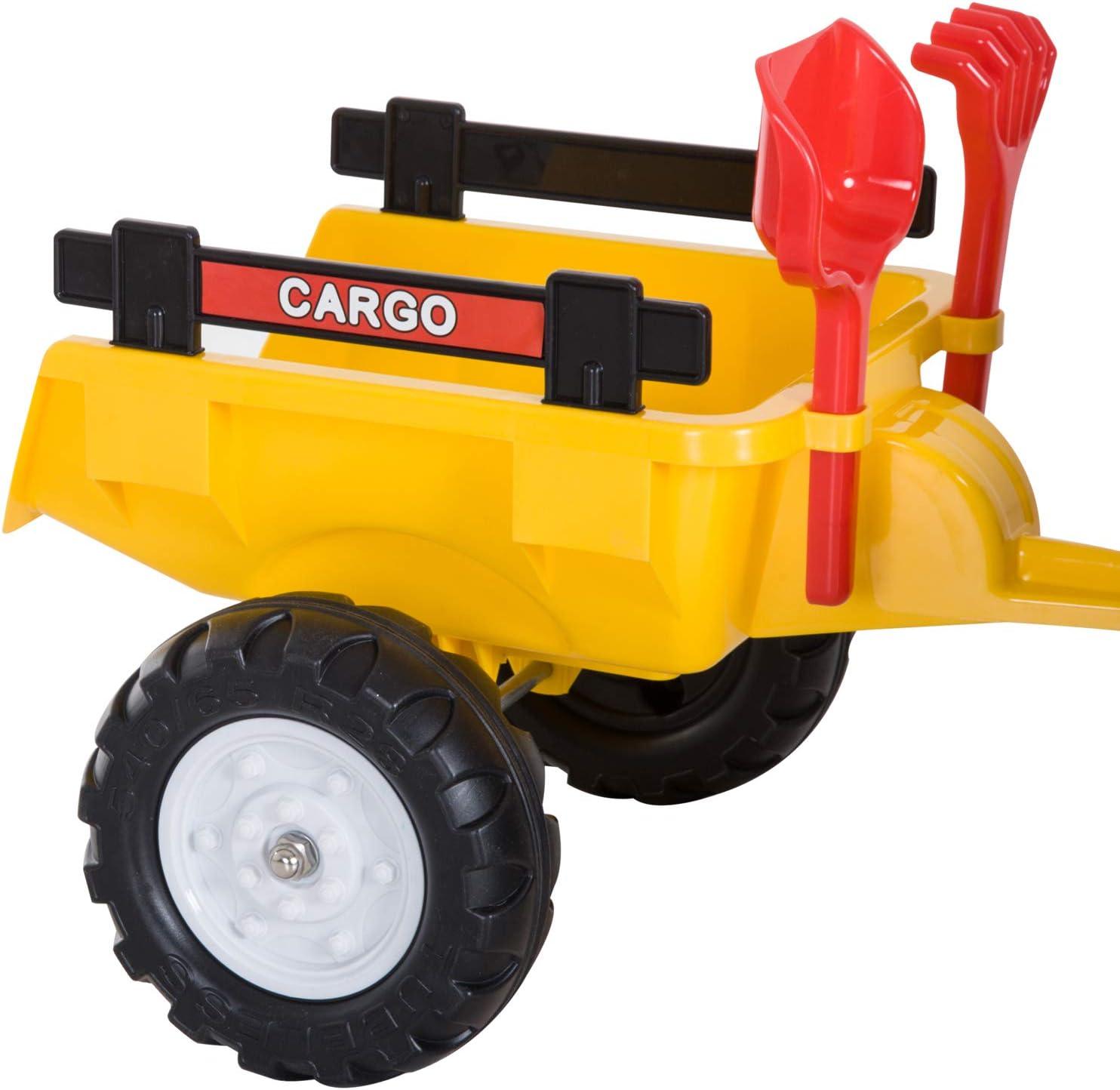 HOMCOM Pedal Go Kart Ride on Tractor w// Shovel /& Rake Four Wheels Child Toy