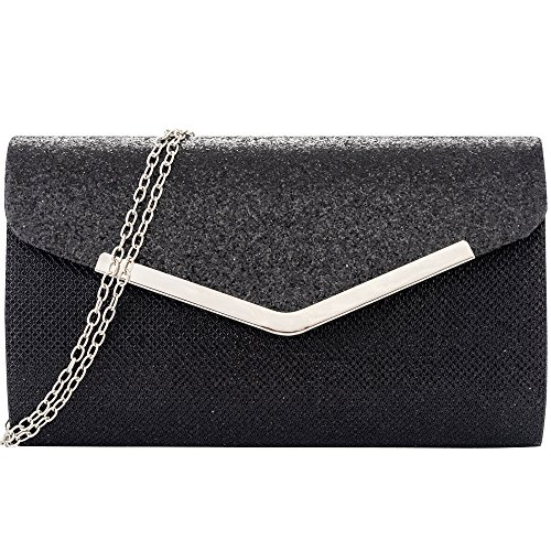 Womens Evening Clutch, Glittering Shininig Envelope Clutches Purse, Handbag for Wedding Parties and Cocktail Prom (Black) by LONGBLE