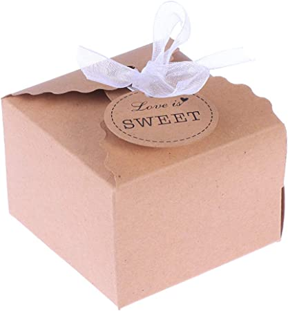 SUPVOX Cajas de Caramelos Bombones Dulce Chocolate de Papel Kraft Cajas de Regalo para Fiesta Boda Decoraciones del Regalo de Cumpleaños 50 Piezas con Hilo de Gasa: Amazon.es: Hogar