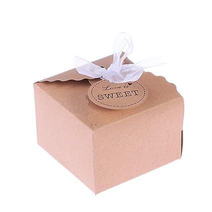 SUPVOX Cajas de Caramelos Bombones Dulce Chocolate de Papel Kraft Cajas de Regalo para Fiesta Boda